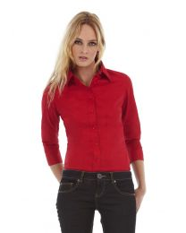 Blouses B&C Collection Poplin Blouse with 3/4 Sleeves dames